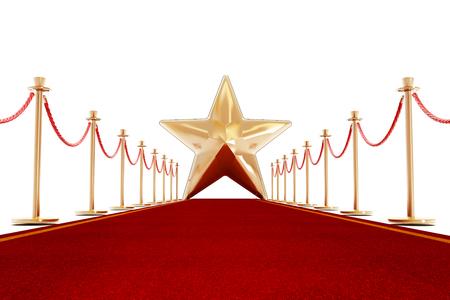 Roter Teppich und Samtseilen mit einem goldenen Stern Form am Ende der Gasse.