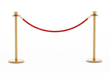 stanchion: Velvet rope and golden barriers isolated on white background