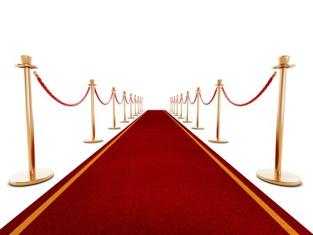 red carpet background: Red carpet and velvet ropes isolated on white background Stock Photo
