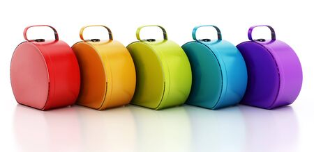 handbags: Multi colored handbags isolated on white background
