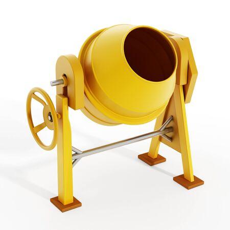 cemento: hormigonera amarillo aislado en el fondo blanco. Ilustración 3D.