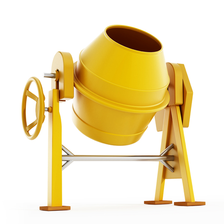 cement mixer: Yellow concrete mixer isolated on white background. 3D illustration.