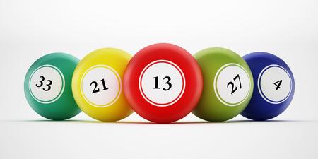 Bingo balls with generic numbers. 3D illustration.