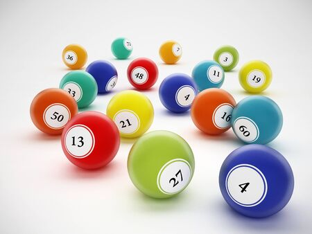 rejections: Bingo balls with generic numbers. 3D illustration. Stock Photo