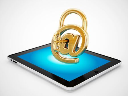 mobile device: Padlock shaped sign standing on mobile device. 3D illustration