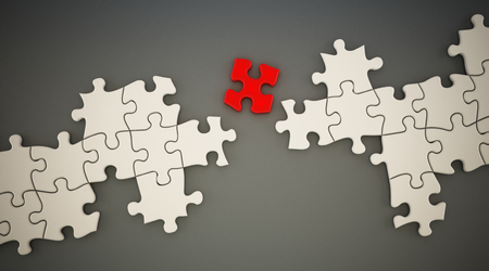 bridging the gaps: Red puzzle part standing between white puzzle parts. 3D illustration.