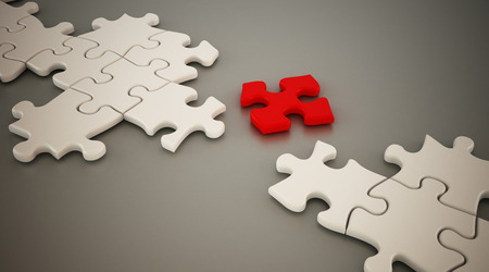 bridging the gap: Red puzzle part standing between white puzzle parts. 3D illustration.