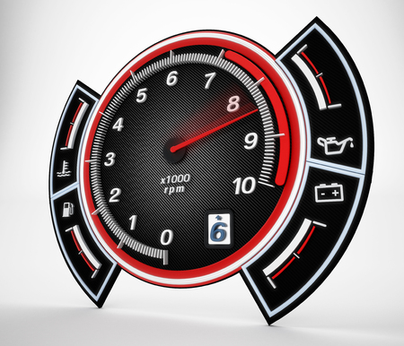rpm: Engine RPM gauge with needle pointing high revs. 3D illustration.