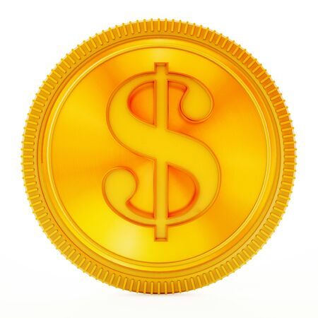 dollar symbol: Gold coin with dollar symbol isolated on white background. Stock Photo
