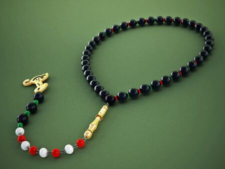 islam: Praying beads with black, red and green gems. 3D illustration.