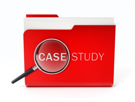 Case study text under magnifying glass standing on red folder. 3D illustration.