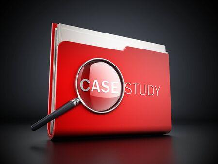 Case texte d'étude sous la loupe debout sur le dossier rouge. illustration 3D.