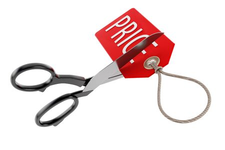 price cutting: Scissors cutting price tag isolated on white background. 3D illustration.