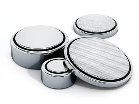 Pila de las pilas de botón aisladas sobre fondo blanco. ilustración 3D Foto de archivo