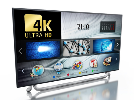 ultra: 4K ULTRA HD television isolated on white background. 3D illustration Stock Photo