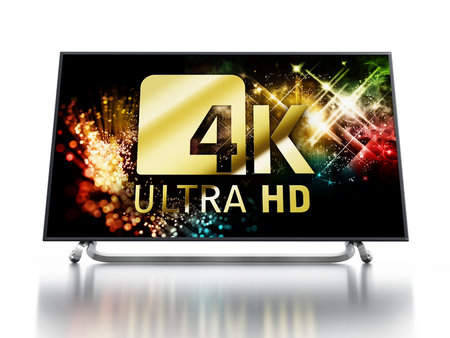 hd tv: 4K ULTRA HD television isolated on white background. 3D illustration Stock Photo