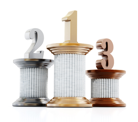 pillars: Pillars with one, two and three numbers. 3D illustration.