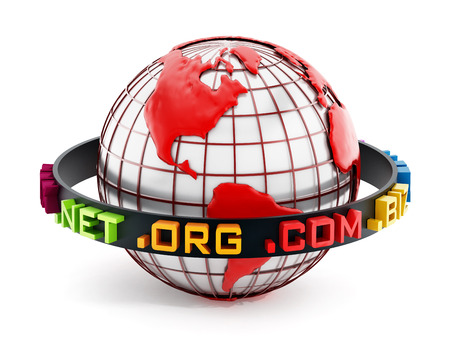 extensions: Domain extensions around the red globe. 3D illustration.
