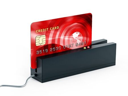 swipe: Red credit card on POS terminal. 3D illustration.
