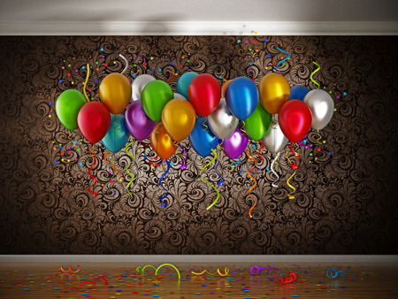 two thousand: Celebration with balloons and confetti inside a room. 3D illustration. Stock Photo