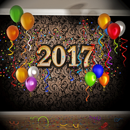 new year eve: 2017 celebration with balloons and confetti. 3D illustration.