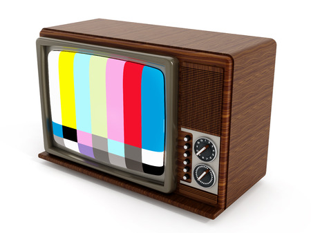 analogue: Old analogue television with test screen. 3D illustration.