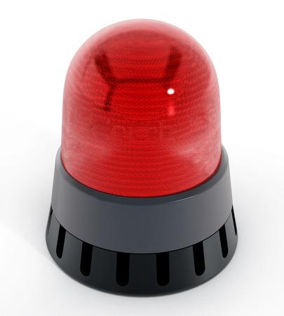 luz roja: luz roja de alarma aislado en el fondo blanco. ilustración 3D
