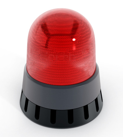 warning: Red alarm light isolated on white background. 3D illustration