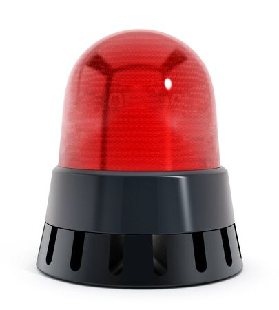 wastage: Red alarm light isolated on white background. 3D illustration
