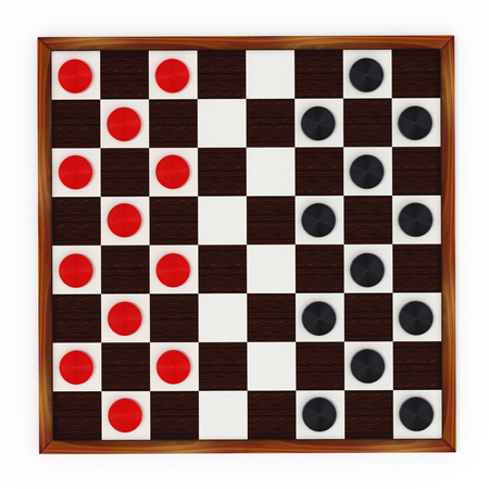 checker: Checkers game board and pieces. 3D illustration. Stock Photo
