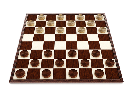 draughts: Checkers game board and pieces. 3D illustration. Stock Photo