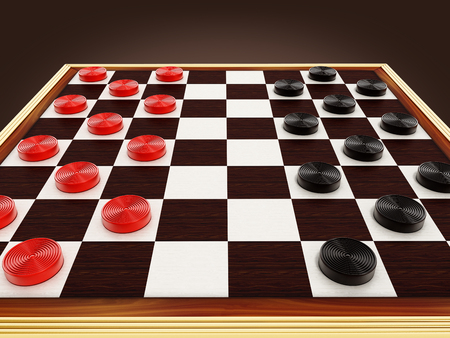 Checkers game board and pieces. 3D illustration. Stock Photo