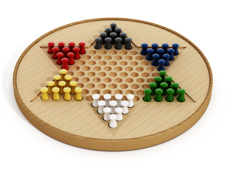 checkers: Chinese checkers board and pawns isolated on white background. 3D illustration.