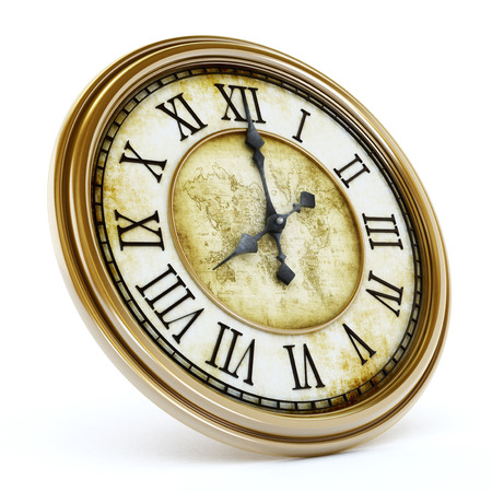 Antique clock isolated on white background. 3D illustration. Banque d'images