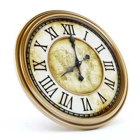 Antique clock isolated on white background. 3D illustration. Archivio Fotografico
