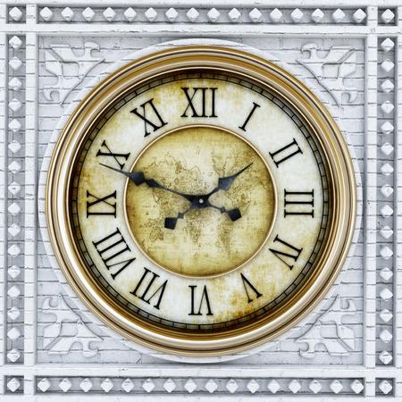 reloj antiguo: El oro y la piedra antigua torre del reloj de fondo. Ilustración 3D.