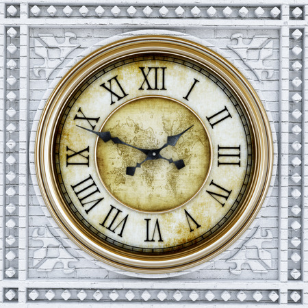 antique clock: Gold and stone antique clock tower background. 3D illustration.