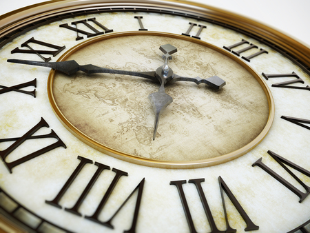 Gold antique clock tower background with minute and hour hands. 3D illustration.