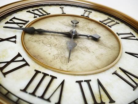 Złoty antyczne tło wieży zegarowej z minutą i godziną rąk. 3D ilustracji. Zdjęcie Seryjne