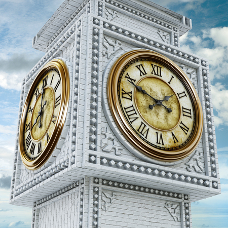 old time: Gold and stone antique clock tower background. 3D illustration.
