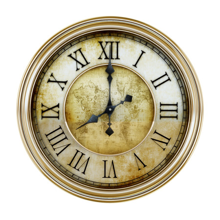 Antique clock isolated on white background. 3D illustration. Imagens