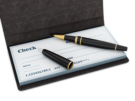 Pluma de pie en chekbook aislado sobre fondo blanco. Ilustración 3D.