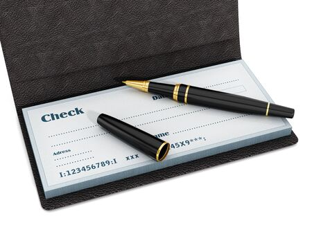 paper currency: Pen standing on chekbook isolated on white background. 3D illustration.