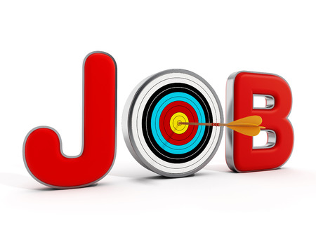 jobs people: Target with an arrow standing between J and B letters. 3D illustration.