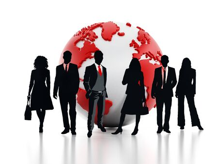 Business professionals standing in front of the globe. 3D illustration.