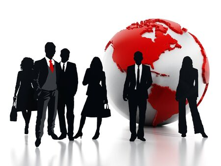 earth globe: Business professionals standing in front of the globe. 3D illustration.