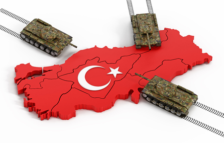 Tanks moving through the Turkish map and flag. 3D illustration. Stock Photo