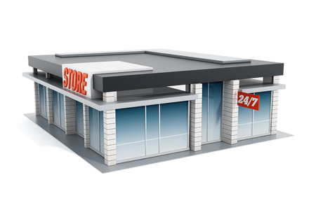 shopping mall: Generic store front isolated on white background. 3D illustration.