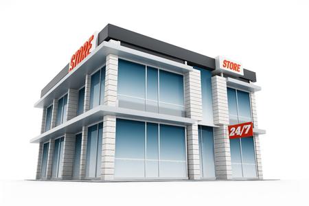 shopfront: Generic store front isolated on white background. 3D illustration.