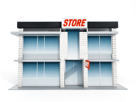 store front: Generic store front isolated on white background. 3D illustration.